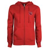 ENZA Ladies Red Fleece Full Zip Hoodie-Interlocking LU