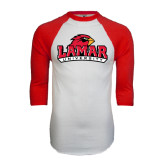 White/Red Raglan Baseball T Shirt-Lamar University w/Cardinal Head