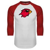 White/Red Raglan Baseball T-Shirt-Cardinal Head