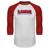 White/Red Raglan Baseball T-Shirt-Wordmark