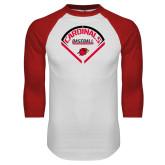 White/Red Raglan Baseball T-Shirt-Baseball Geometric Plate