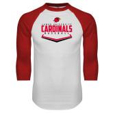 White/Red Raglan Baseball T-Shirt-Baseball Plate Design