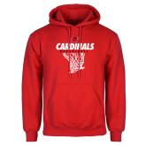 Red Fleece Hoodie-Basketball Net Design