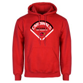 Red Fleece Hoodie-Baseball Geometric Plate