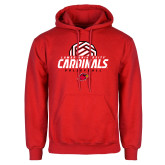 Red Fleece Hoodie-Geometric Volleyball Design