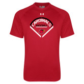 Under Armour Red Tech Tee-Baseball Geometric Plate