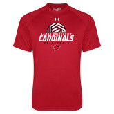 Under Armour Red Tech Tee-Geometric Volleyball Design