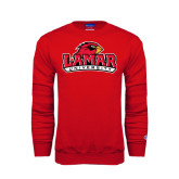 Champion Red Fleece Crew-Lamar University w/Cardinal Head
