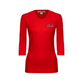 Ladies Red 3/4 Sleeve Scoop Neck-Lamar University
