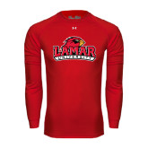 Under Armour Red Long Sleeve Tech Tee-Lamar University w/Cardinal Head