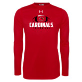 Under Armour Red Long Sleeve Tech Tee-Football Stacked Ball Design
