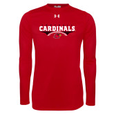 Under Armour Red Long Sleeve Tech Tee-Football Geometric Design