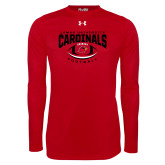 Under Armour Red Long Sleeve Tech Tee-Football Arched Over Ball
