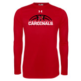 Under Armour Red Long Sleeve Tech Tee-Half Ball Basketball Design