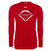 Under Armour Red Long Sleeve Tech Tee-Baseball Geometric Plate
