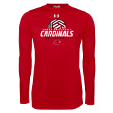 Under Armour Red Long Sleeve Tech Tee-Geometric Volleyball Design