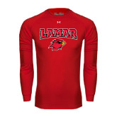 Under Armour Red Long Sleeve Tech Tee-Lamar w/Cardinal Head
