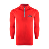 Under Armour Red Tech 1/4 Zip Performance Shirt-Lamar University w/Cardinal Head