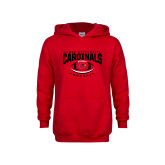 Youth Red Fleece Hood-Football Arched Over Ball