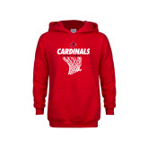 Youth Red Fleece Hood-Basketball Net Design