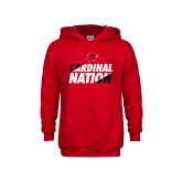 Youth Red Fleece Hoodie-Cardinal Nation