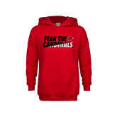 Youth Red Fleece Hoodie-Fear The Cardinals