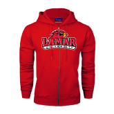 Champion Red Fleece Full Zip Hood-Lamar University w/Cardinal Head