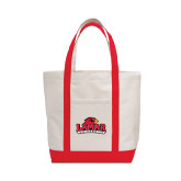 Contender White/Red Canvas Tote-Lamar University w/Cardinal Head