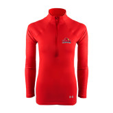 Ladies Under Armour Red Tech 1/4 Zip Performance Shirt-Lamar University w/Cardinal Head