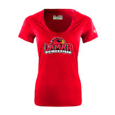 Ladies Under Armour Red Tech Tee-Lamar University w/Cardinal Head