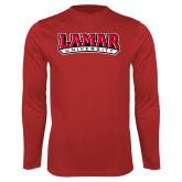 Performance Red Longsleeve Shirt-Wordmark