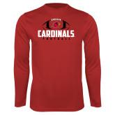 Performance Red Longsleeve Shirt-Football Stacked Ball Design