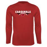 Syntrel Performance Red Longsleeve Shirt-Football Geometric Design