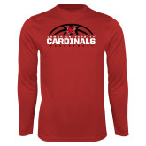 Performance Red Longsleeve Shirt-Half Ball Basketball Design