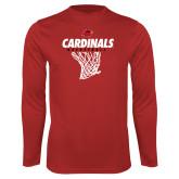 Performance Red Longsleeve Shirt-Basketball Net Design