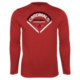 Performance Red Longsleeve Shirt-Baseball Geometric Plate