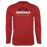 Performance Red Longsleeve Shirt-Soccer Half Ball Design