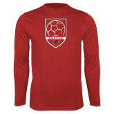 Syntrel Performance Red Longsleeve Shirt-Soccer Shield Design