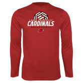 Syntrel Performance Red Longsleeve Shirt-Geometric Volleyball Design