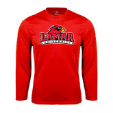 Syntrel Performance Red Longsleeve Shirt-Lamar University w/Cardinal Head
