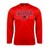 Syntrel Performance Red Longsleeve Shirt-Lamar w/Cardinal Head