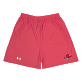 Under Armour Red HeatGear Microshort w/Pockets-Lamar University w/Cardinal Head