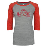 ENZA Ladies Athletic Heather/Red Vintage Triblend Baseball Tee-Primary Mark Glitter