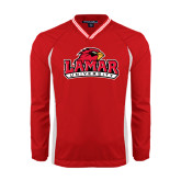 Colorblock V Neck Red/White Raglan Windshirt-Lamar University w/Cardinal Head