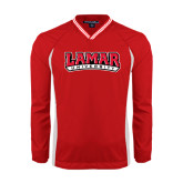 Colorblock V Neck Red/White Raglan Windshirt-Lamar University