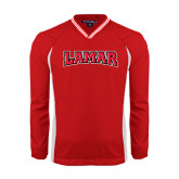 Colorblock V Neck Red/White Raglan Windshirt-Lamar