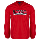 V Neck Red Raglan Windshirt-Wordmark