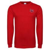 Red Long Sleeve T Shirt-Interlocking LU