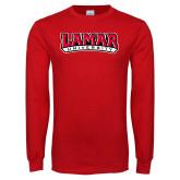 Red Long Sleeve T Shirt-Wordmark