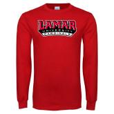 Red Long Sleeve T Shirt-Lamar University Cardinal Stacked